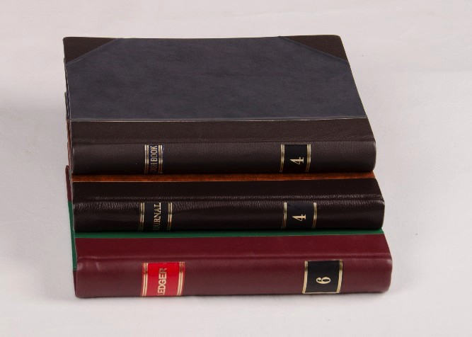Half Leather Bound Books with Foiled Labels